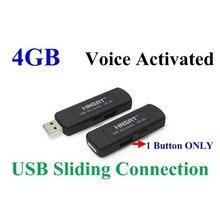 Livraison gratuite 09 4 GB numérique enregistreurs vocaux Disk Digital Audio Enregistreur Vocal One Voice Button Coulissante Connexion