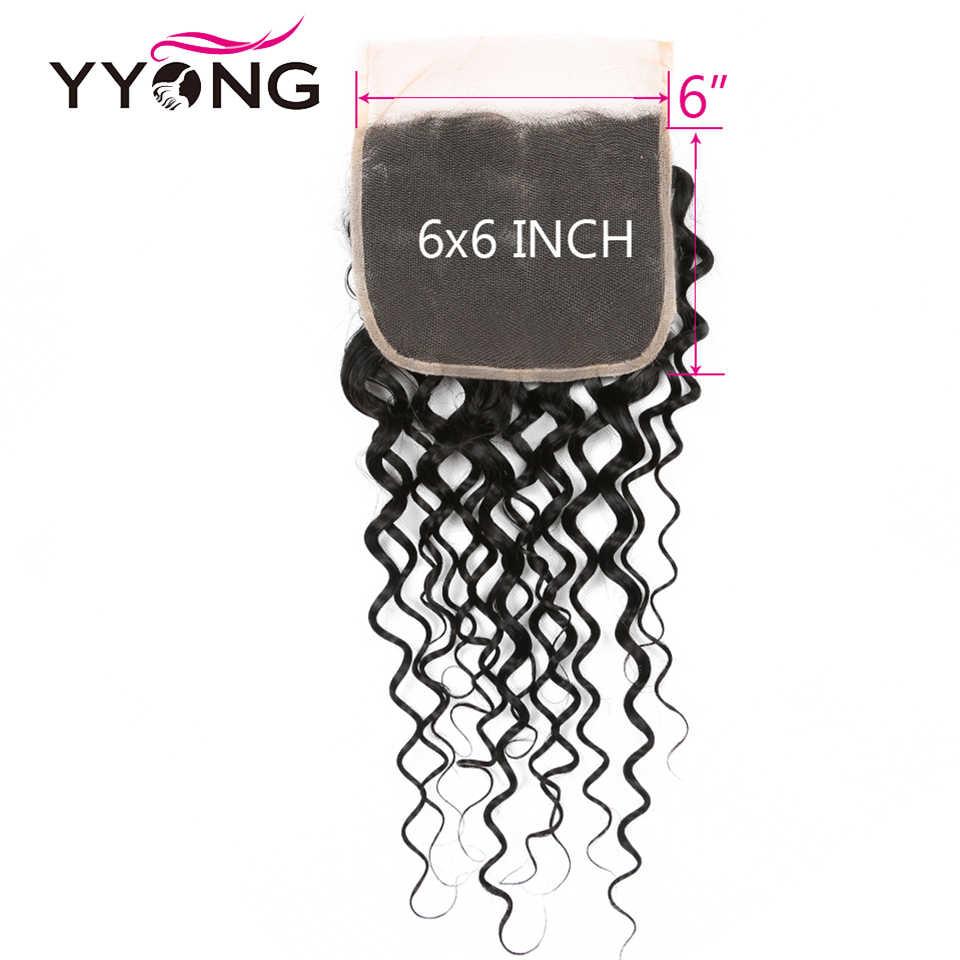 Yyong włosy 8-26 cal peru Water Wave 6x6 zamknięcie z wiązki Remy ludzkie włosy tkania 3/4 wiązki z zamknięciem