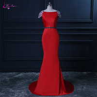 Waulizane Lustrous Satin Boat Neck Mermaid Evening Dress Delicate Beading Crystals Embroidery Brush Train Cap Sleeves