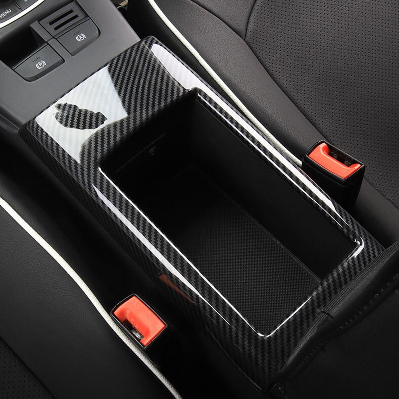 Carbon Fiber Color Central Armrest Storage Box Panel Cover Trim For Audi A3 8V 2014-2018 ABS Car Styling Interior Accessories