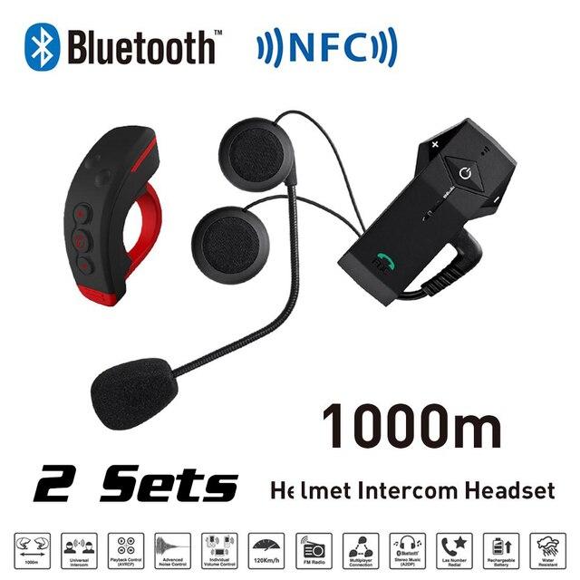 Nuevo 2 Sets 1000 m BT NFC FM Motocicleta Moto de Nieve Casco intercomunicador Intercomunicador Del Interphone Del Bluetooth + L3 Control Remoto