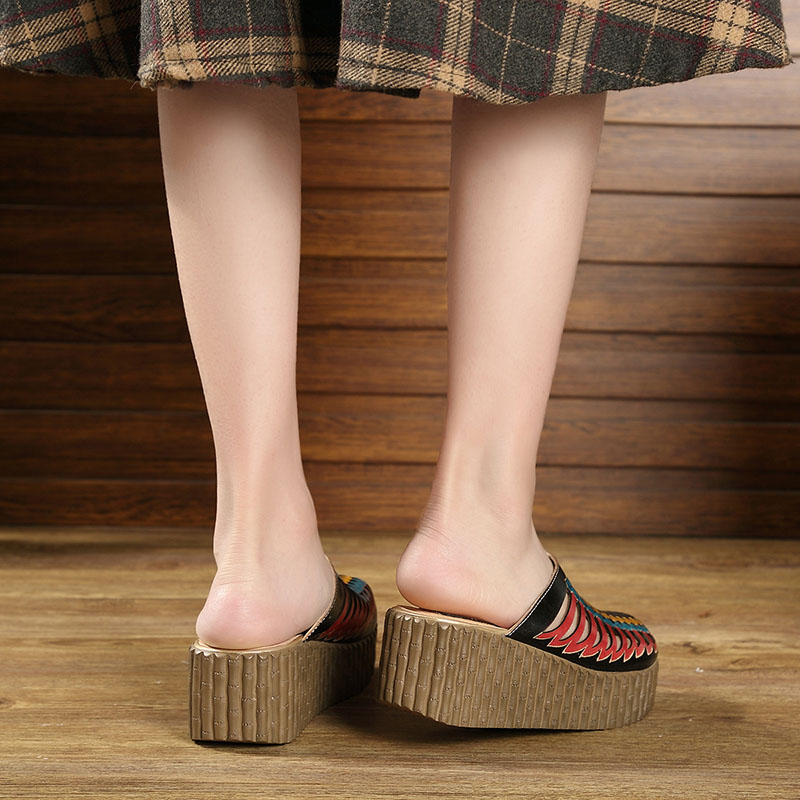 2019 Summer Shoes Female Slippers Closed Toes Hollow Out Handmade Thick Heels Genuine Leather Women Platform Wedges Slides