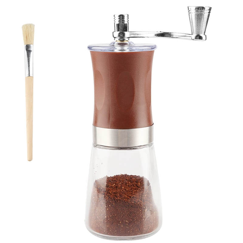 Manual Coffee Grinder With Soft Brush, Hand Grinder Ceramic Conical Burr Mill Hand Crank Coffee Bean Grinder For Home Office T