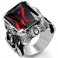 Vintage Style Stainless Steel Red Cz Antique Ruby Rings Dragon Claw Biker Men Engagement Rings Black