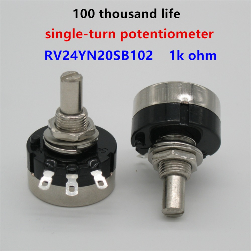 2pcs Rv24yn20s B102 1k Ohm Carbon Film Potentiometer Single-turn Potentiometer Durable Service Tools Potentiometers