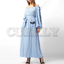 CUERLY Casual pompon off shoulder women dress Long sleeve striped sash blue cotton dresses Vintage loose female summer vestidos