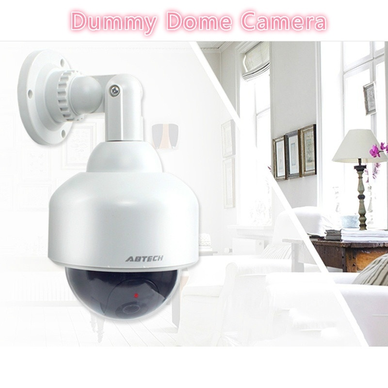 Waterproof Surveillance Fake CCTV Security Camera Simulated With Flashing Red LED Light Dummy Dome Camera Power By AA Batteries image