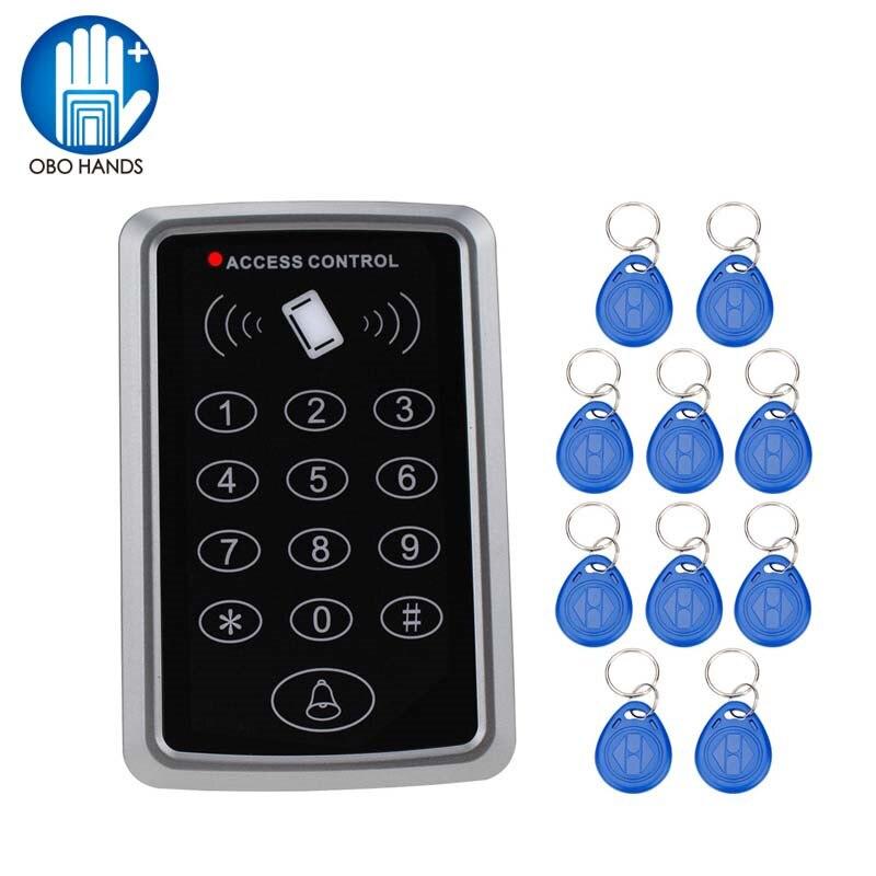 Plastic RFID Standalone Access Control System Digital Keypad + 10pcs Keyfobs RFID Tag for Opening Door Lock