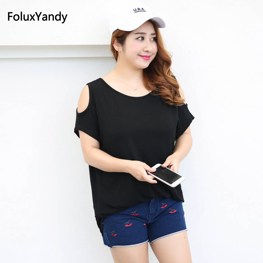 Off the Shoulder Tops Tees Plus Size 3 4 5 6 XL Summer Style O-neck Loose Long Style Short Sleeve Women T-shirt QYL206
