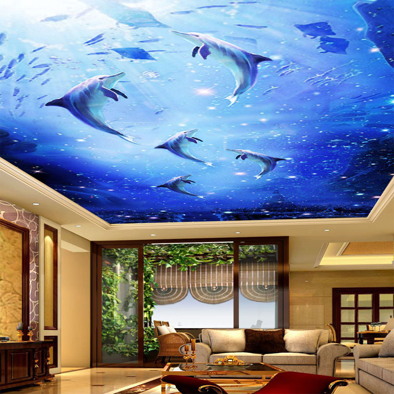 Aliexpress Buy Custom Mural Wallpaper Underwater World Dolphin Ceiling Paintings Art Living Room Bedroom Decorative Wall Painting From