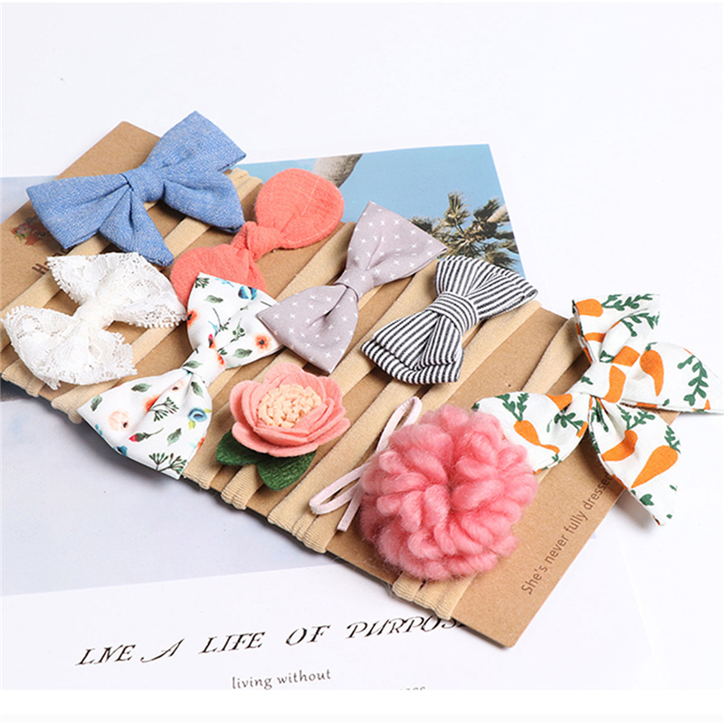 2019 Brand New Girls Baby 1/10 Pcs  Elastic Flower Headband Hair Band Accessories Headwear Headwrap Shining