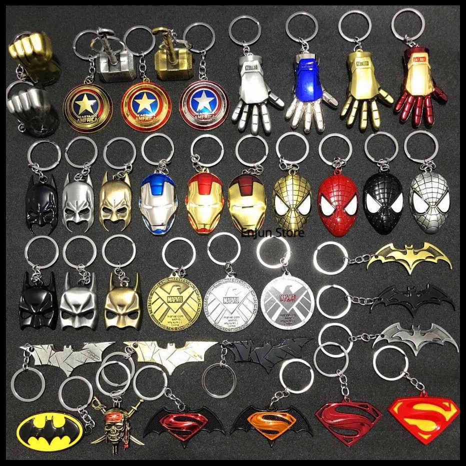 NOVA Moda Avengers Alliance, Capitão Americano, Ferro, Batman Máscara, Máscara do Homem Aranha, Spiderman, do Martelo do Thor Chaveiro Carro Homem, Meninas Saco Da Corrente Chave