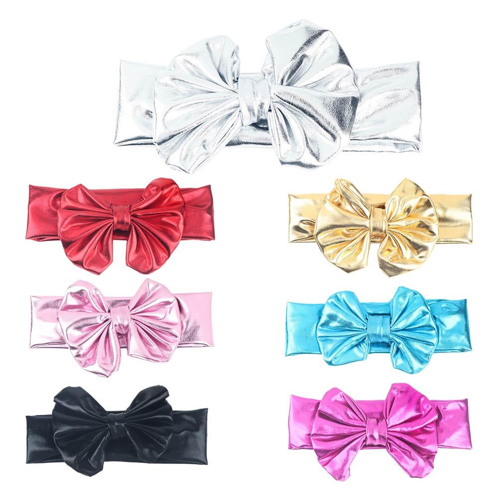 Girls Solid Bronzing Bow Headbands For Kids Flower Hair Band Korean Baby Hairband Gold Cute Handmade DIY Hair Accessories