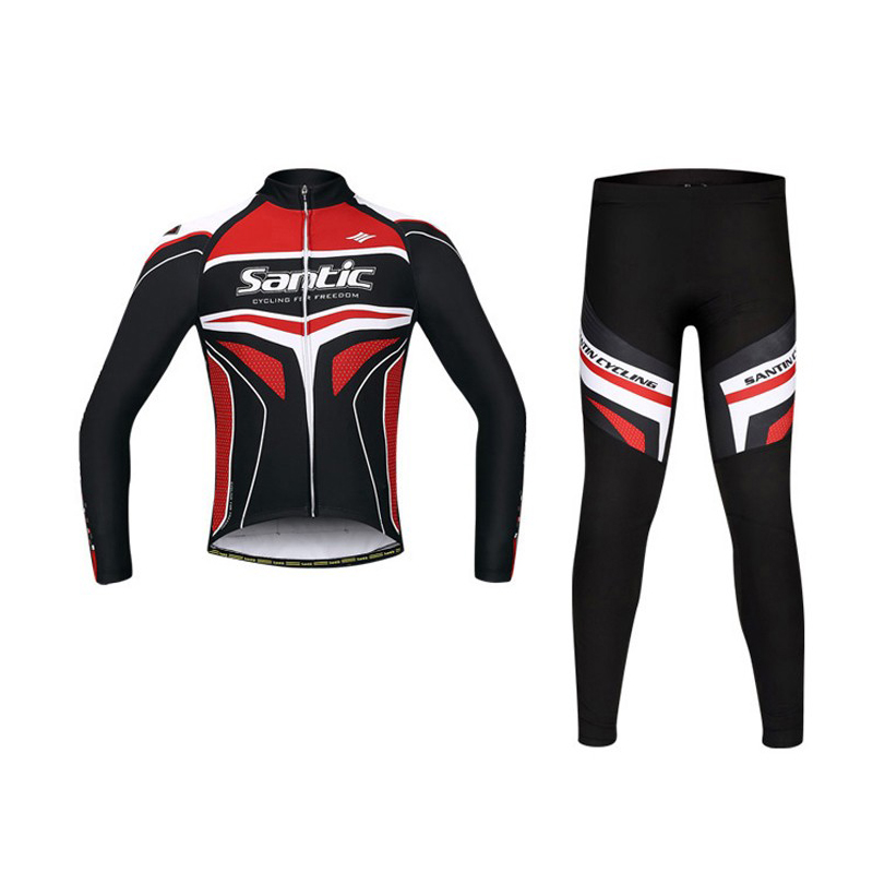 Santic Men Spring Autumn Cycling Sets MTB Downhill Bicycle Suit Windproof Cycling Jersey Gel Pad Bike Clothing WSM143F1001 [супермаркет] джингдонг спалдинг spalding 74 582y маленькие дети баскетбол баскетбол no 5