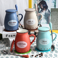 2016 Hot Porcelain Afternoon Tea Cups Ceramic Cup Mugs With Lid Coffee Tea Cup Water Bottle Unique Gift Home Cafe With Spoon