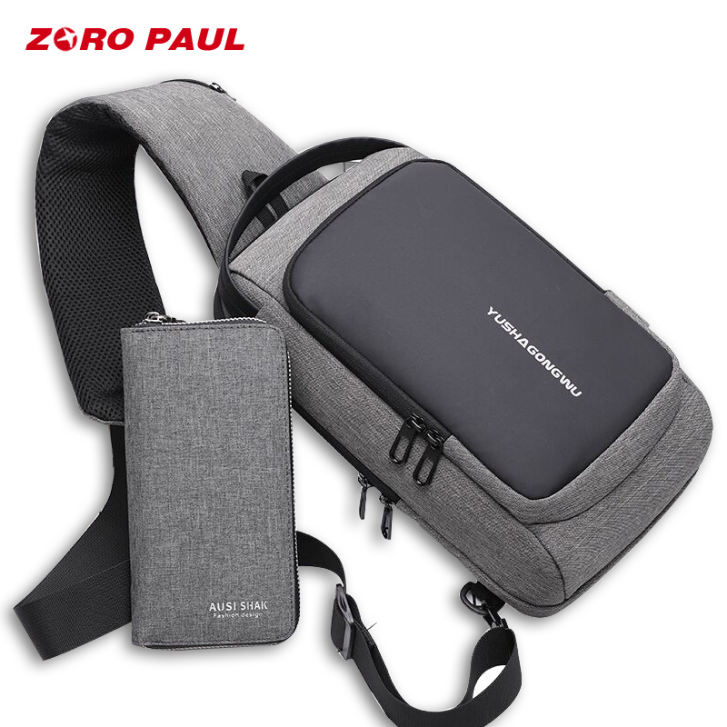 ZORO PAUL New Upgrade Men's Shoulder Bag Set Korean Crossbody Bags for Men Fashion Chest Bag Pack 7.9 inch IPAD USB Charging сумка zoro paul zr1901 3