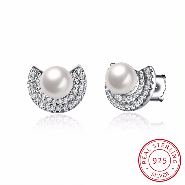 Pearl stud earring for women Solid 925 Sterling silver jewelry classic wedding earrings for sexy girls romantic bijoux VSVE066