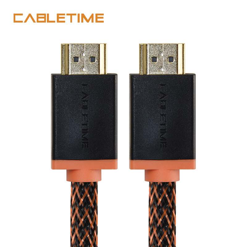 Cabletime Thunderbolt HDMI Cable 4K 2.0 60hz HDMI TO HDMI Cable Adapter 1m 1.8m 3m 5m 2 Colors Audio extractor for PC DP N047