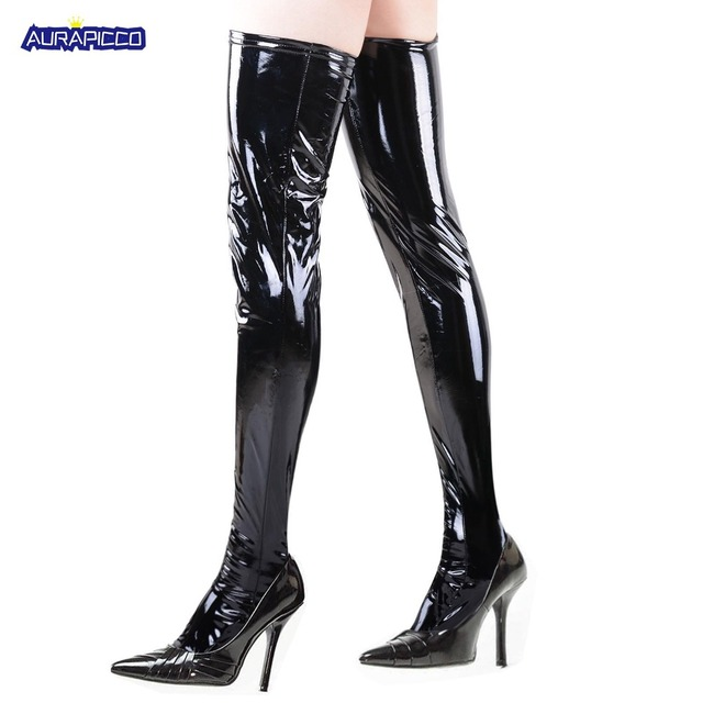 b9387e1dd Women Wet Look Thigh High Stockings Faux Leather Skin Clubwear Tight  Stockings Underwear Costume Dress Accessories