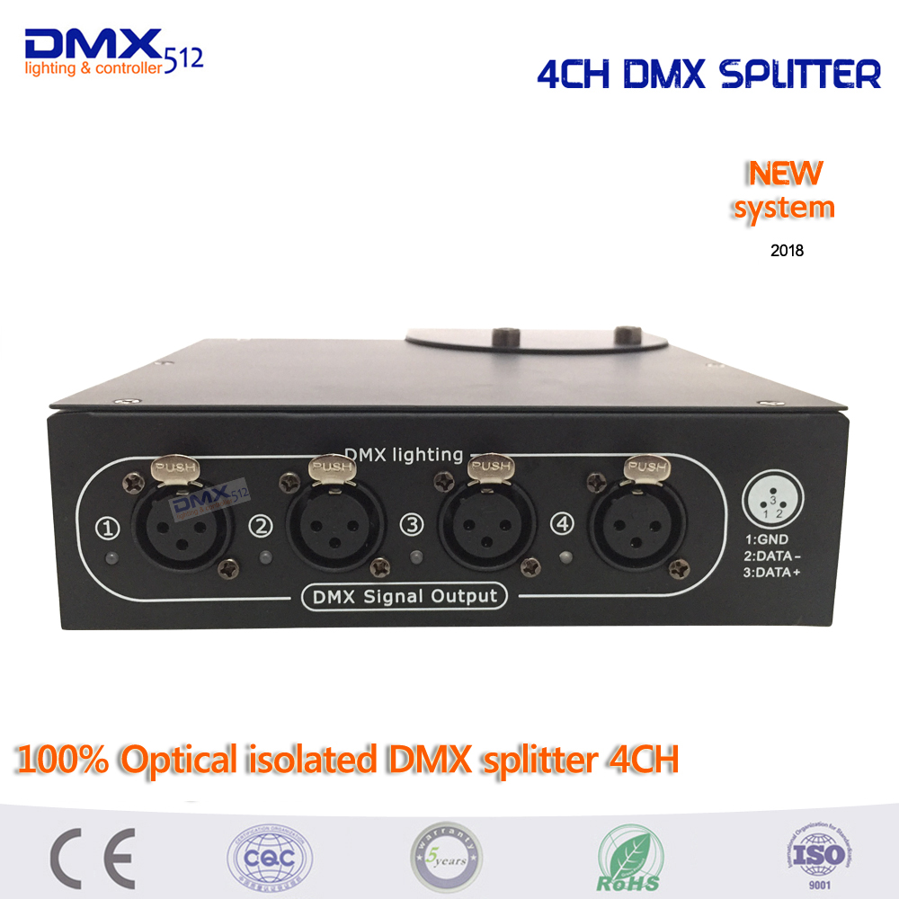DHL Free shipping 100% Optical isolated DMX splitter 4 way dmx splitter for stage light free dhl 100