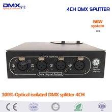 DHL Бесплатная доставка 100% Оптический изолированный DMX Splitter 4 dmx-сплиттер для сцены свет