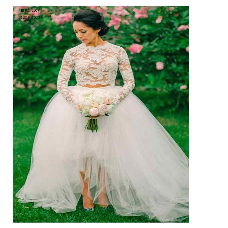 Sexy Boho Barato Vestido De Casamento Branco Lace Profunda Top 2 Peças Vestido de Noiva Elegante Vestido de Casamento Até O Chão Frete Grátis 2019