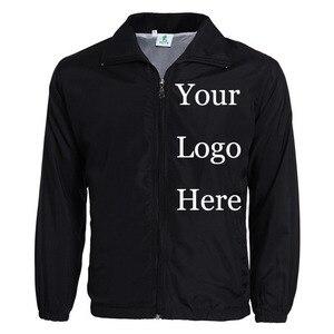 Image 1 - Custom Jacket Windbreaker Diy Afdrukken Borduren Logo Designer Foto S Dunne Wind Proof Jas Jassen Advertentie Drop Shipper