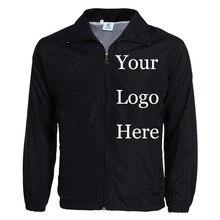 Jaqueta feita sob encomenda blusão diy impressão bordado logotipo designer fotos fino vento prova casaco jaquetas anúncio drop shipper