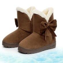 ฤดูหนาวร้อนขาย2016ผู้หญิงหนาลื่นทนรองเท้าข้อเท้าอบอุ่นแข็งหวานด้วยโบว์หญิงแบนรองเท้าฤดูหนาวMQ905