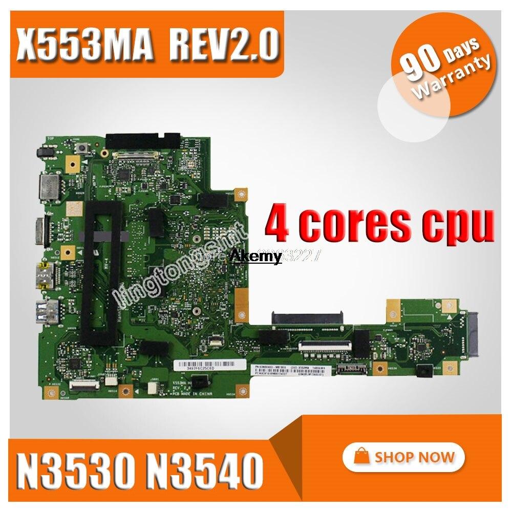 X553MA Motherboard N3530 N3540 For ASUS A553M D553M F553M K553M X503M Laptop Motherboard X553MA Mainboard X553MA Motherboard
