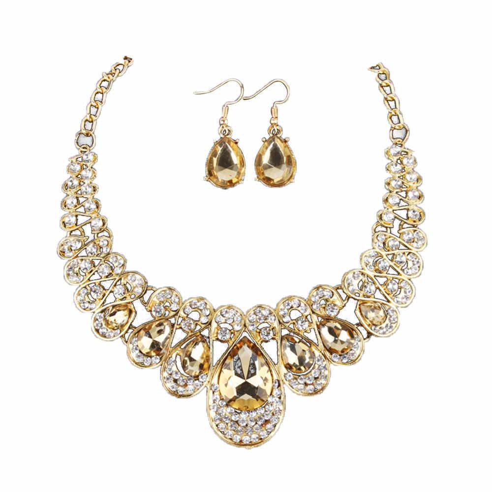 קריסטל זהב מצופה Jewerly סטים לנשים הצהרת תליון קסם שרשרת שרשרת עגילי תכשיטי סט 8.30
