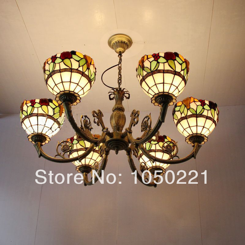 Tiffany Glass Pendant Lamps  Apple Light  6 Lights Living Room Lamps Bedroom Lamp Hotel Lights DIA 85 CM H 40 CM a1 master bedroom living room lamp crystal pendant lights dining room lamp european style dual use fashion pendant lamps