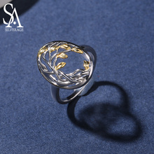 SA SILVERAGE Authentic 925 Sterling Silver Life Tree Shape Engagemant Wedding Ring Gold Color Plated Rings for Woman