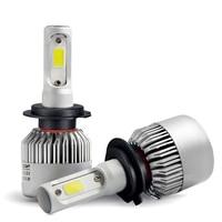 2pcs Car Light S2 H4 H7 H1 COB LED Headlight Bulbs Auto Fog Lamps Cooling Fan