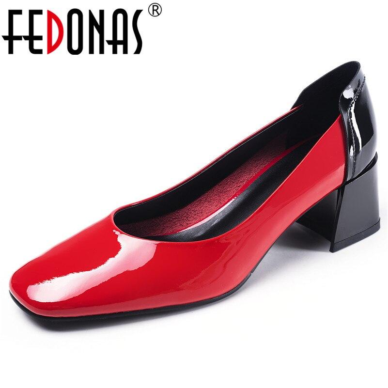 07350c1a7c25a7 Paty Hauts Pompes Printemps Carré Club rouge Femmes Cuir Vache Rome Fedonas  Chaussures Qualité Noir Sexy Bal Femme Mode Talons ...