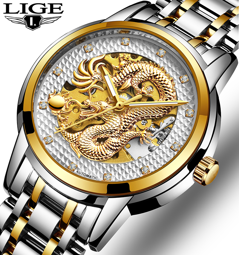 Luxury Dragon Skeleton Automatic Mechanical Watches For Men Wrist Watch Stainless Steel Strap Gold Clock Waterproof Mens watch mce automatic watches luxury brand mens stainless steel self wind skeleton mechanical watch fashion casual wrist watches for men