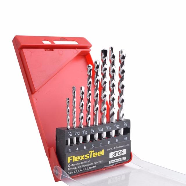 Drill Bit Set Metal Drill Set for Drilling Concrete Flexsteel 8-Piece Alloy Steel Masonry