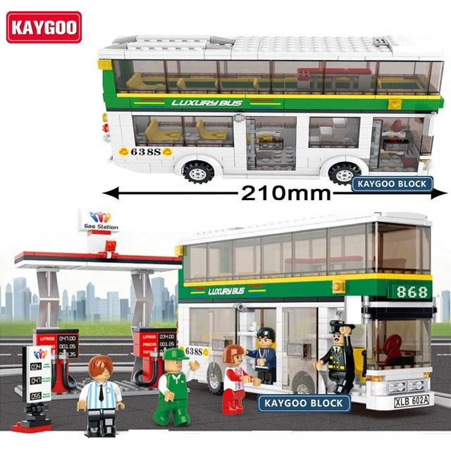 Kaygoo Plastic Building Blocks Sets Single & Double Deck School City Bus Plane DIY Enlighten Bricks DIY Kids Toys Christmas Gift