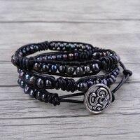 Black Freshwater Pearl Bracelet Boho Wrap Bracelet Pearl Leather Bead Wrap Bracelet Boho Stack Men Pearl