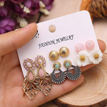 2019 New Fashion Elegant Women Earrings Sets Cute Pink Flower Pearl Leaf Ear Stud Mix 6 Pairs Earrings Girls Party Jewelry(China)