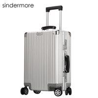 Sindermore 100% Полный Алюминий Чемодан 20 нести один кабины 25 29 Проверено Чемодан путешествия тележки подвижного Жёсткие чемоданы чемодан