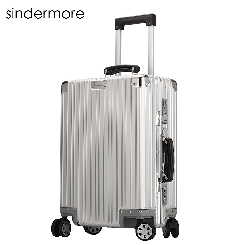 Sindermore 100% Full Aluminum Luggage 20 Carry One Cabin 25 29 Checked Luggage Travel Trolley Rolling Hardside Luggage Suitcase sindermore aluminum luggage suitcase 20 25 29 carry on luggage hardside rolling luggage travel trolley luggage suitcase