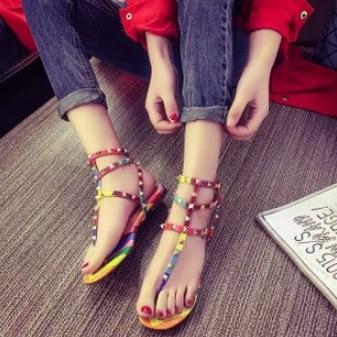 5ac81898616 fashion summer rivet color block decoration rainbow thong sandals casual  women flat flip-flop sandals