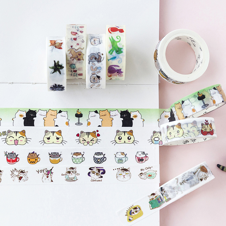 Playful Cat Washi Tape DIY Stickers Scrapbooking Masking Tape Label Sticker Japanese Stationery