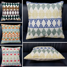 Home Decor Embroidered Cushion Cover Handmade Square Geometric Canvas Cotton Square Embroidery Pillow Cover 45x45cm Pillowcase home decorative embroidered cushion cover black white canvas cotton square embroidery pillow cover 45x45cm for sofa living room