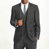 Classic Design Male Suits Peaked Lapel Two Buttons Slim Dark Gray Groomsman Tuxedos Wedding Men Suit