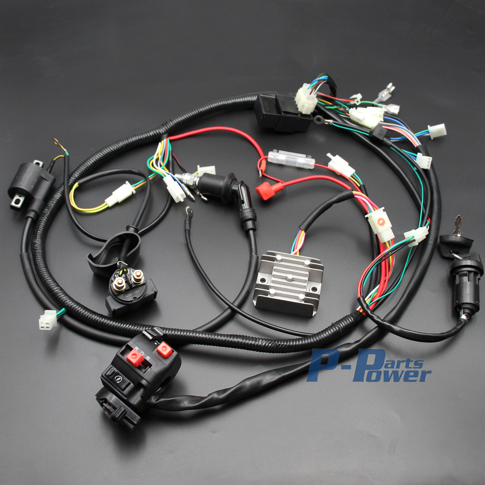 BUGGY WIRING HARNESS LOOM GY6 125cc 150cc Chinese Electric start Kandi Go kart dazon ATV New aliexpress com buy buggy wiring harness loom gy6 125cc 150cc gy6 buggy wiring harness at gsmx.co