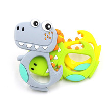 hot deal buy baby food grade silicone cartoon dinosaur teether beads bpa free teething necklace pendant teething rings for baby toddler toys