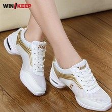 2017 New Modern Dance Espadrilles Women Jazz Hip Hop Shoes Salsa Breathable Mesh Professional Practice Sneakers For Woman