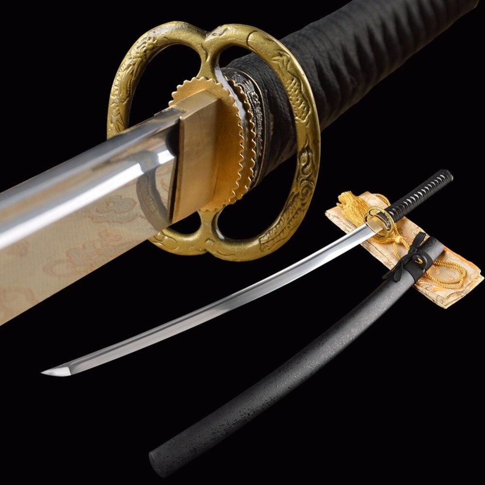 SHI JIAN vágási gyakorlat Samuria kard Japán Katana Teljes Tang - Lakberendezés